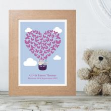 Personalised Butterfly Balloon Print - New Baby Girl Gift or Christening Keepsake